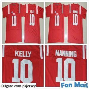 NCAA OLE B Miss Rebels College # 10 Eli Manning Jersey Ev Kırmızı Erkek Dikişli 10 Chad Kelly Futbol Formaları Shirts S-XXXL
