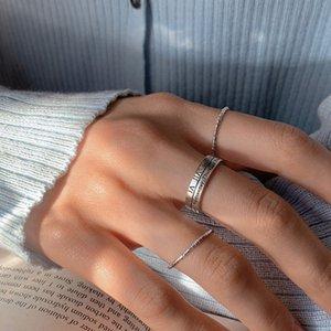925 Silver Roman Digital Opening Ring Creative Personality Fashion Thai Geometric Women's Eap9