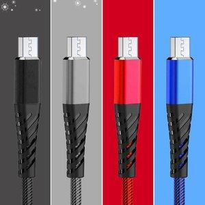 1m 3FT Fishing Net USB Micro V8 Datenleitung Kabeltyp C Kabel dauerhaft 2.4A mit Getriebe und Schnellladegerät 300 stücke