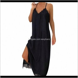 Casual Womens Clothing Apparel Drop Delivery 2021 Women Maxi Black Sexy Lace Sling Solid Holiday Party Dress Summer Beach Dresses Vestidos De