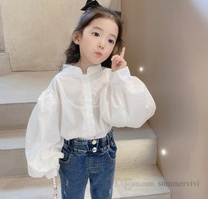 Sweet girls white princess shirt children single breasted puff sleeve blouse 2021 autumn kids all-matching tops clothes Q1174