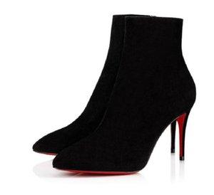 Zarif Kış Moda Kadınlar Shoess Paris Bayan Kırmızı Alt Çizmeler Ayak Bileği Ayakkabı Booty Süet Deri Seksi Yüksek Topuklu Boyutu 35-43