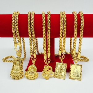 "Chinese Mens 18K Gold Plated Necklace Pendant 24"" Chain Jewelry Gift"