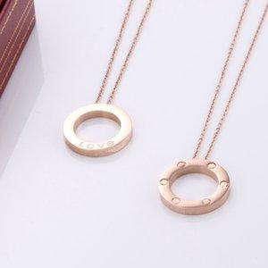 2021 mujeres de lujo diseñador joyería numeral romano collares collares collares de oro rosa de color de acero inoxidable para hombre collar de chain boxwholesale