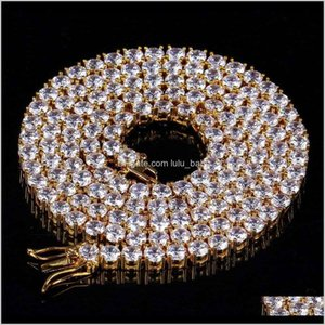 Mens Hip Hop Chain 1 Row 4Mm Diamond Iced Out Gold Silver Plated Macro Pave Cz Tennis Bling Crystal Jewelry 8Zytc Graduat Siqav