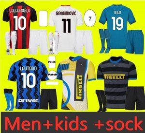 Inter Soccer Jersey 2021 2022 الرابع 4th ميلان Lukaku Lautaro Eriksen Barella 20 21 22 ميلان إبراهيموفيتش ثيو ماندزوكيك قميص كرة القدم للأطفال مجموعة تونالي إبراهيم