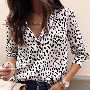 Women's Blouses & Shirts Women Sexy Leopard Blouse Long Sleeve V Neck Shirt Ladies OL Party Tops Dames Streetwear Blusas Plus Size 2XL 3XL