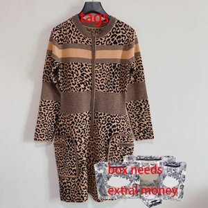 Fashion Women Dresses Casual Leopard Print Ladies Skirt Long Sleeve Knitted Elegant Dress 2021FW Lady Party Skirts