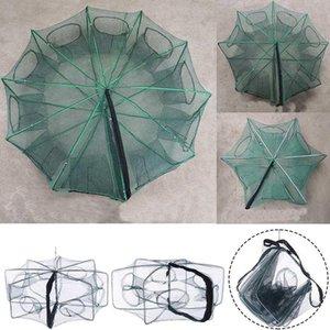 Raccorzato 6-10 fori Automatic Fishing Net Shrimp Cage Nylon Pieghevole Pesce Trappola Cast Pieghevole Accessori per la rete