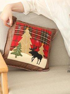 Christmas Throw Pillow Case Covers Buffalo Plaid Xmas Tree Reindeer Cushion Cases Home Sofa Decorations 36cm HWB10555