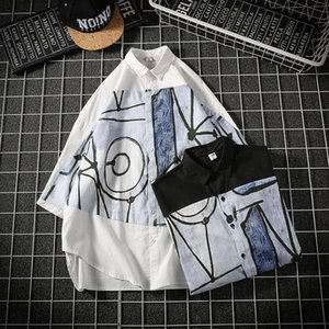 Oversize Black white Shirt For Men Printed Graffiti Stitching Chinese Style Sunscreen Tops Half Sleeve Loose Shirts Male Clothes Men's Casua