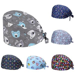 Unisex Bear Leaf Floral Cotton Adjustable Sweat Absorbant Scrub Cap Bouffant Hat