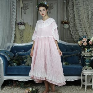 Long Nightgown Vintage Nightdress Pink Womens Sleepwears Dress Homewear Plus Size Nightgowns Ladies Princess