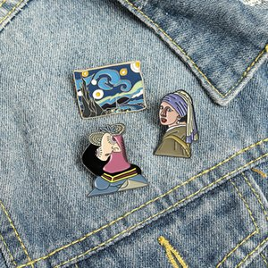 Cartoon Oil Painting Sky Brooches Enamel Girls With Pearl Earrings Pins For Women Clothes Collar Cowboy Badge Fashion Accessories Wholesale