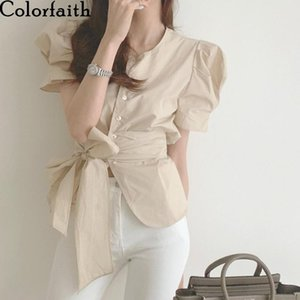 Women's Blouses & Shirts Colorfaith 2021 Women Summer Puff Sleeve Vintage Korean Style Lace Up Fashionable Lady Wild Short Tops BL2056
