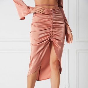 Skirts Women's Sexy Slim Skirt Female 2021 Spring Summer Lace Up Drawstring Feme Vintage Streetwear For Women