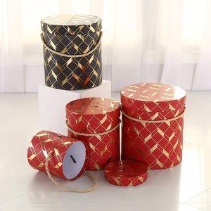 Round Bronzing Pattern Gift Packaging Box Florist Hat Flower Bucket Wedding Party Decor Candy Biscuit Storage Wrap
