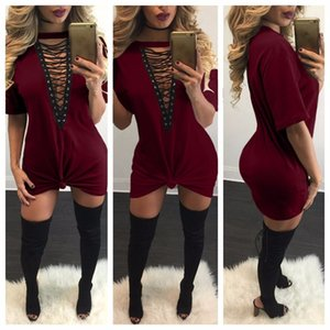 Autumn Cotton Fashion Plus Sleeve Size Dresses Sexy Short Summer Casual Loose V Neck Mini T-Shirt Dress Women Clothing Free Shipp