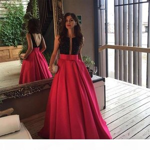 2019 evening dresses Custom made Evening Gowns satin beads sexy backless deep v-neck Long Evening Prom Dresses Arabic Formal Dress