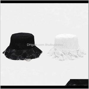 Wide Brim Hats Caps Hats, Scarves & Gloves Fashion Aessoriesladies Soft Bucket Hat White Black Lace Crochet Flower Sun Cap Spring Street Trav