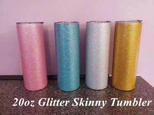 20oz Glitter Powder Tumblers Straight Tumbler Stainless Steel Skinny Tumber Vacuum Insulated Beer Coffee Mugs with Straw