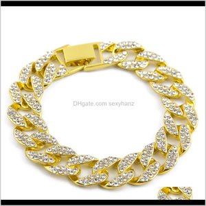 Link, Bracelets Drop Delivery 2021 Iced Out Curb Miami Cuban Paved Clear Golden Bling Rhinestones Mens Womens Chain Bracelet Hip-Hop Jewelry