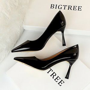 2022 Pumps-Shoes 8cm Heels-Hochzeits-Party-Spitz-Tehe Gold Aphixta sexy große Größe