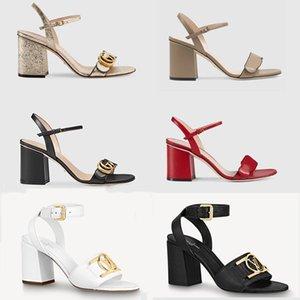 Женские блокировки сандалии роскоши роскошные высокие каблуки металлические ламинированные кожи середины каблуки сандалии замшевые сандалии летние пляжные свадебные туфли 35-41 с коробкой