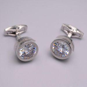 4-color luxury shirt cufflinks fashion design crystal cuff-buttons high quality steel cuff links for men abotoadura jewelry