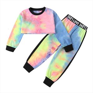 2pcs Toddler Kids Baby Girl Clothes Tie Dye Print Long Sleeve Crop Tops T Shirt Letter High Waist Pants Outfits