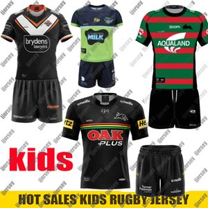 WEST TIGERS ENFANTS Jersey de rugby Brisbane Broncos NRL Rugby League Jerseys Penrith Panthers Canberra Assaurs Chemises enfants Taille: 16-26