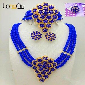 Moda Mujeres Gold-Color Africano Azul Bead Joyería Set Vestido de novia para mujer Accesorios nupciales Pendientes Pendientes Collar Anillo