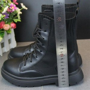 Padded Boots Rock Shoes Woman Flat Heel Lace Up Winter Footwear Boots-Women Round Toe Cotton Black Ankle Med Rubber1