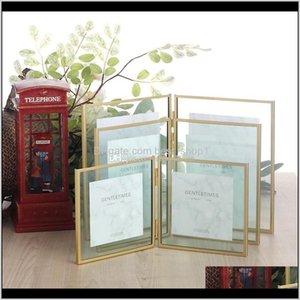 Und Formteile Kunsthandwerk Geschenke Home Garten Drop Lieferung 2021 Doppelfalten Floatingrahmen für Bildblätter Gold Sier Metallgepresstes Glas
