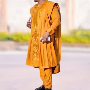 H&D New African Mens Clothing Agbada Outfit Kaftan Wear 3 Pieces Set for Man Long Sleeves Shirt Ankara Pant Boubou Suit 210408