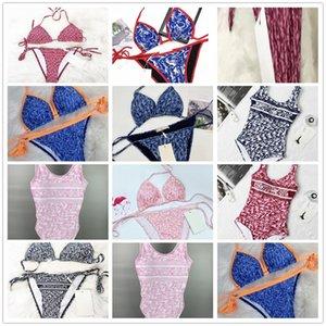 Swim Wear Womens Bikini Sexy Strand Bikinis Sommer Badeanzug Mode Brief Gedruckt Strappy Siamesische Split Stil Badebekleidung Einteiler 2021