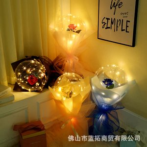 Space glow wave net yarn romantic rose bouquet balloon hand-held flower DIY material