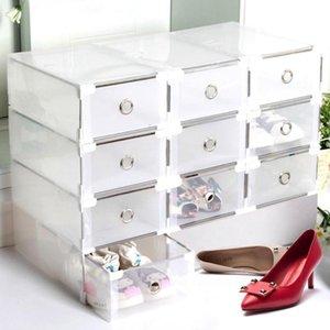 Пластиковая складная прозрачная обувь для хранения коробки для хранения Организатор утолщенного ящика чехол штабелированный штабелированный для дам-каблуки