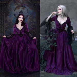 2021 фиолетовые свадебные платья с кружевом с длинным рукавом аппликации с длинным рукавом.