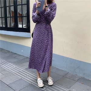 Chic Alien Flowers Kitty Print Herfst Couples Loose V-neck Lace Up Sweet Soft All-Match Casual Pretty Girls Fresh Dresses