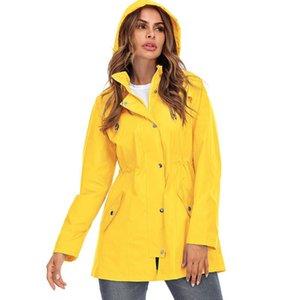 Девушки желтые с длинным рукавом на открытом воздухе с капюшоном на молнии дождя дождя дождевой плащ женщин женское пальто негабаритную женскую верхнюю одежду XXL женская COA