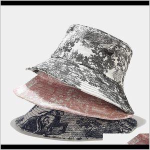 Beanies Unisex Ink Painting Vintage Bucket Hat Tie-Dye Printed Outdoor Fisherman Cap Bonnets Cn(Origin) Fbw3U Drs2U