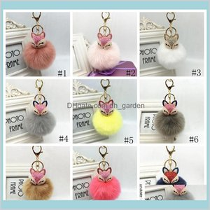Event Festive Supplies Home Garden Keychain Charms Crystal Head Key Ring Fluffy Faux Fur Pom Keychains Bag Car Pendent Party Favor Gga