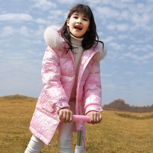 fur thicken children's jackets coat shiny young big down collar winter jacket teens outerwear girls 4-14 years clothing