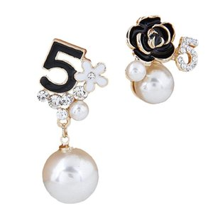 Pearl Number 5 Long Dangle Chain Designer Luxury Jewelry Brincos Orecchini Earrings For Women Stud