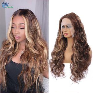 Highlight Wig Glueless Colored Human Hair Wigs For Women Brazilian 13x1 Body Wave Lace