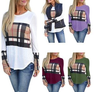 2021 autumn and winter new European and American women's circular collars patchwork color long sleeve T-shirt
