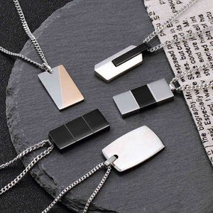 C collares familiares collares de titanio de acero para hombre y hip hop personalidad moda colgante de cadena de clavícula
