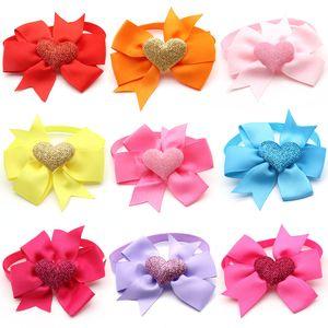 Dogs Pets collar Accessories Valentine's Day Puppy Cat Bowties Necktie Love Heart Design Bow Tie Grooming