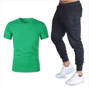 Sportswear Tracksuits Uomo Felpa Sporting 2021 T-shirt estiva + Pantaloni lunghi Casual Track Suit Fashion Fitness Jogger